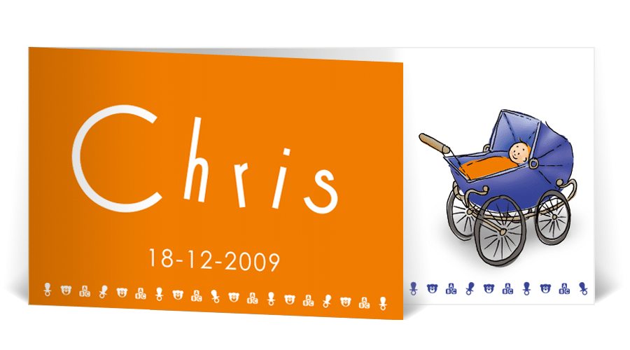 geboortekaart portret illustratie kinderwagen
