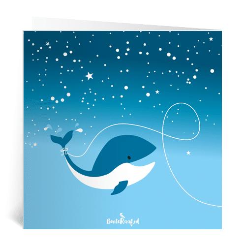 geboortekaartje noud raket piraat maan astronaut dinosaurus illustratie walvis