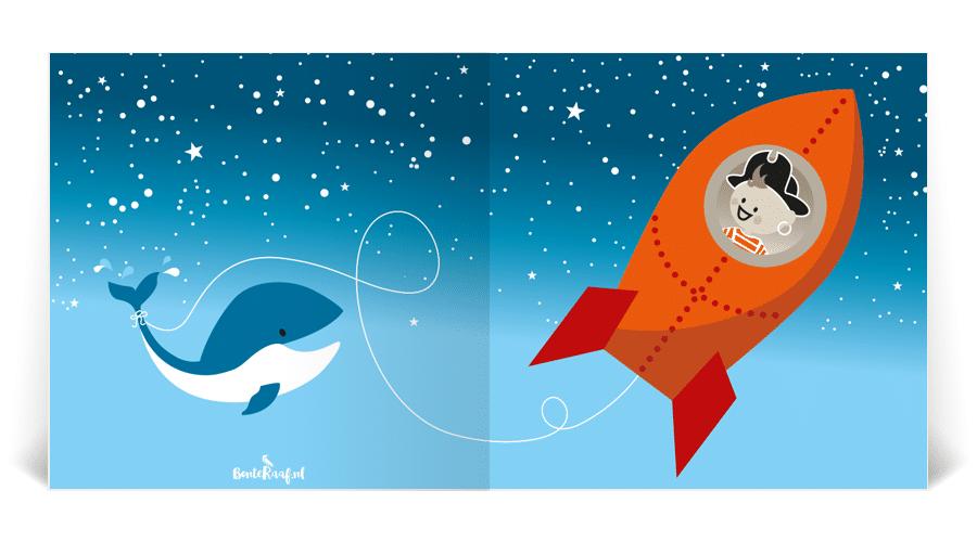geboortekaartje noud raket piraat astronaut illustratie walvis