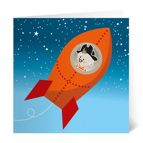 geboortekaartje noud raket piraat astronaut illustratie
