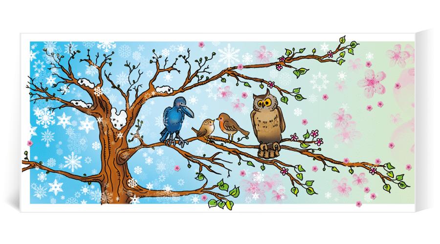 geboortekaart illustratie vogels uil ooievaar zwaluw raaf roodborstje winterkoning pauw