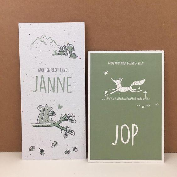 Geboortekaartjes Job en Janne