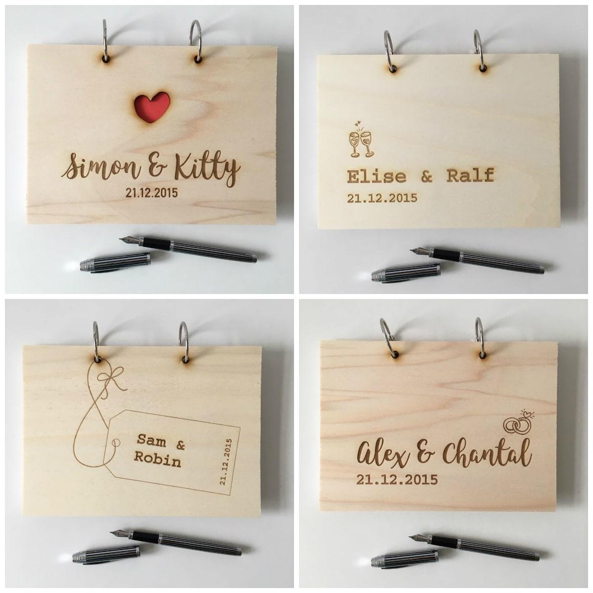 houten gastenboeken met invulkaarten