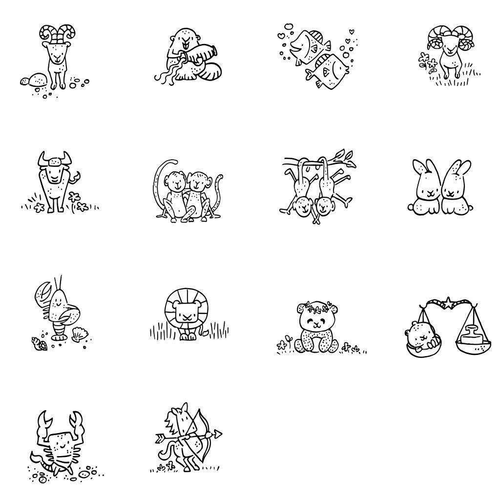 illustraties sterrenbeelden horoscoop