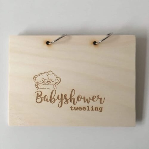 houten babyshowerboek tweeling