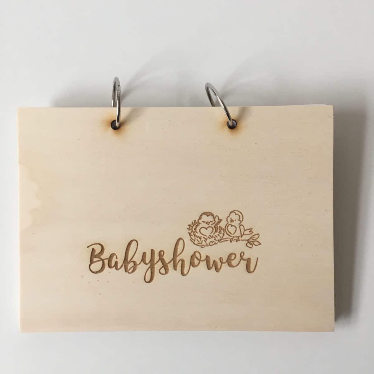 houten babyshowerboek invulkaarten houten herinnerboek
