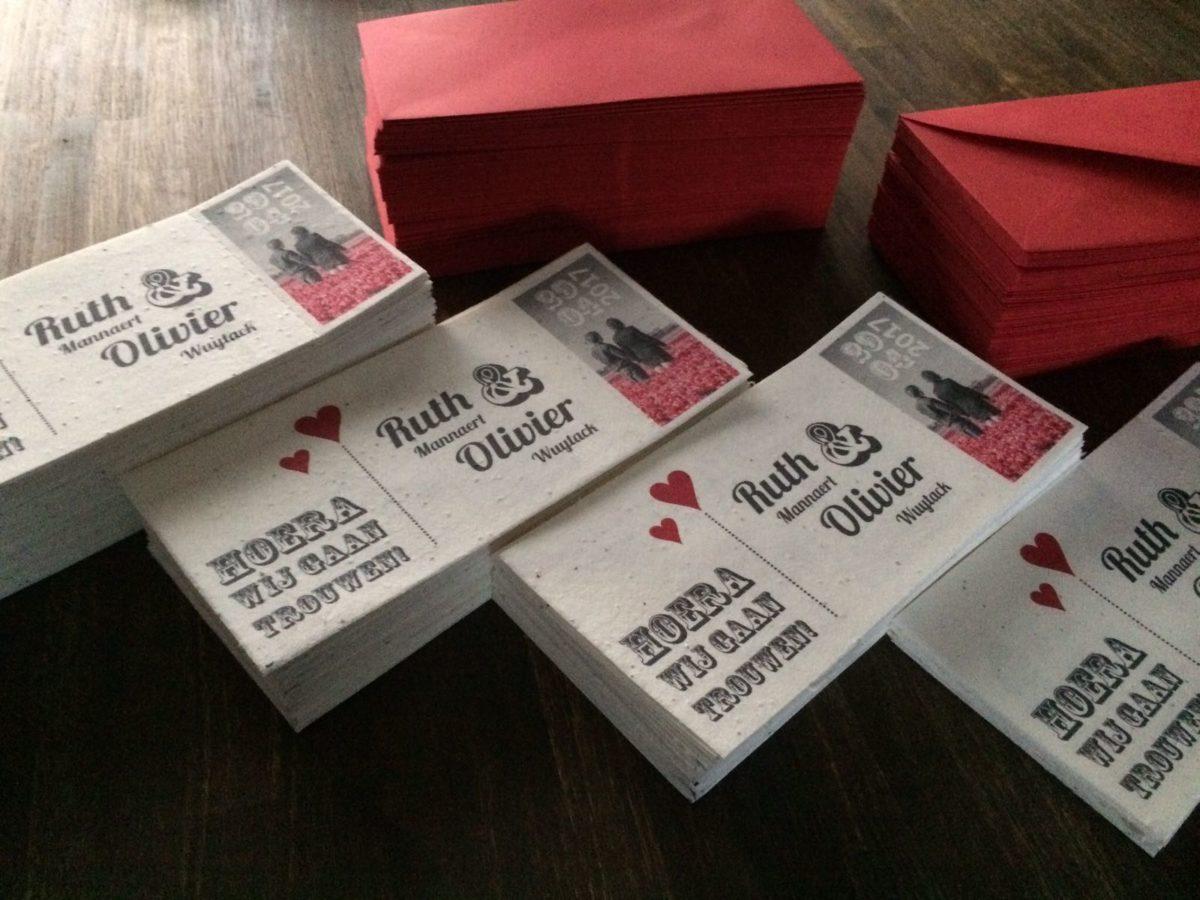 groeikaart trouwkaart rode envelop