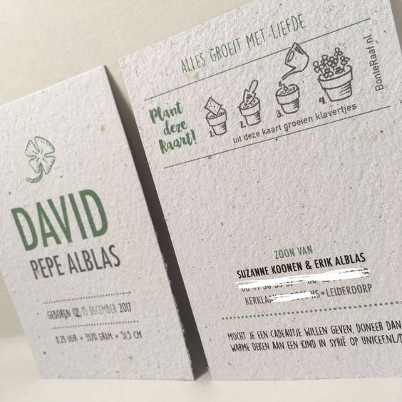 david geboortekaartje groeipapier