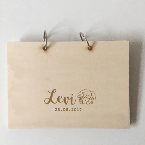 houten kraamboek met naam