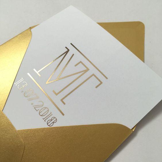 trouwkaart goudfolie