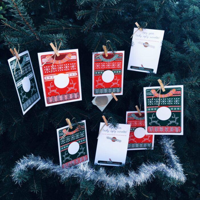 kerstkaart met kraslaag en boodschap