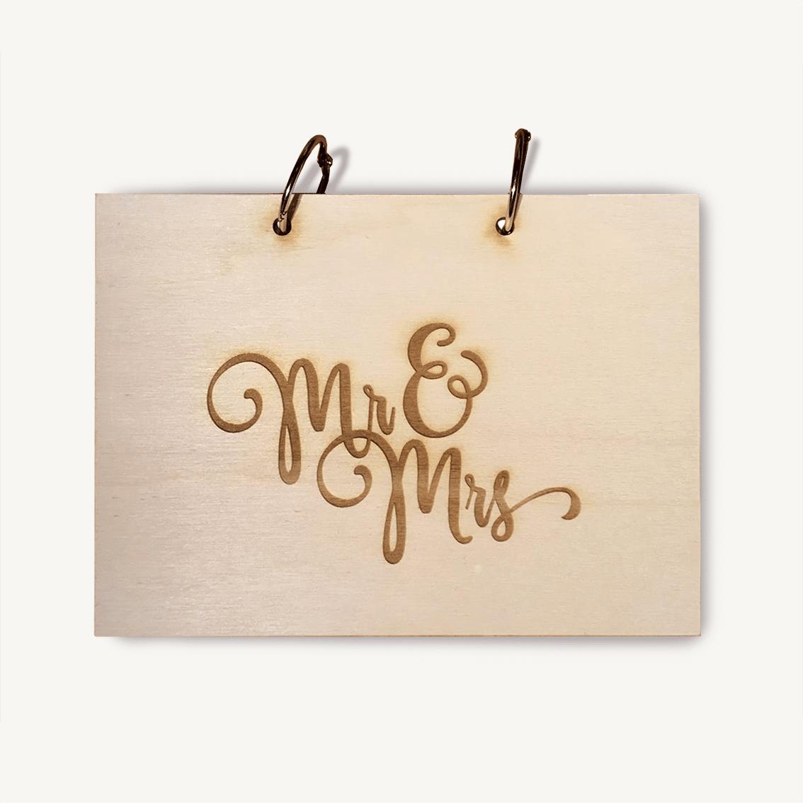 Mr and Mrs houten kaft gastenboek