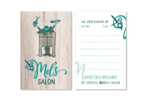logo visitekaartje afsprakenkaartje mel's salon