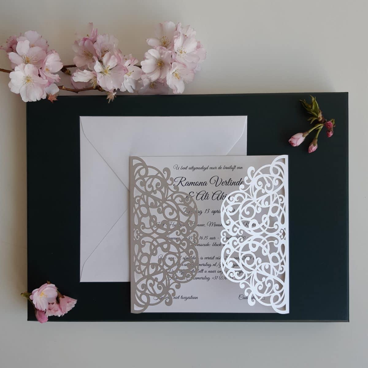 gelaserde trouwkaart