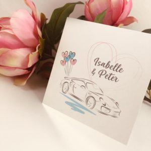 trouwkaart auto porsche