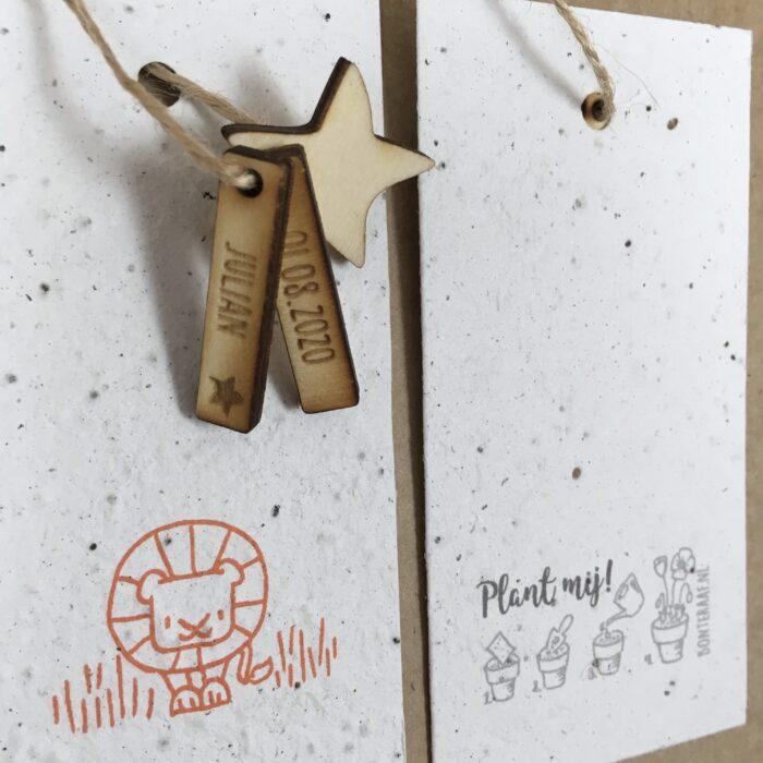 kraambedankjes groeikaart bedankje leeuw sterrenbeeld horoscoop