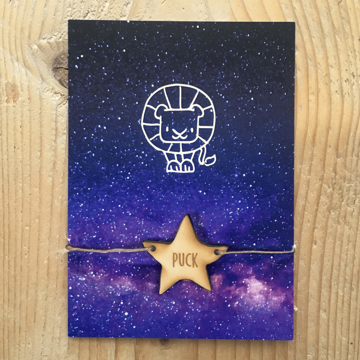 sterrenbeeld galaxy geboortekaartje houten label