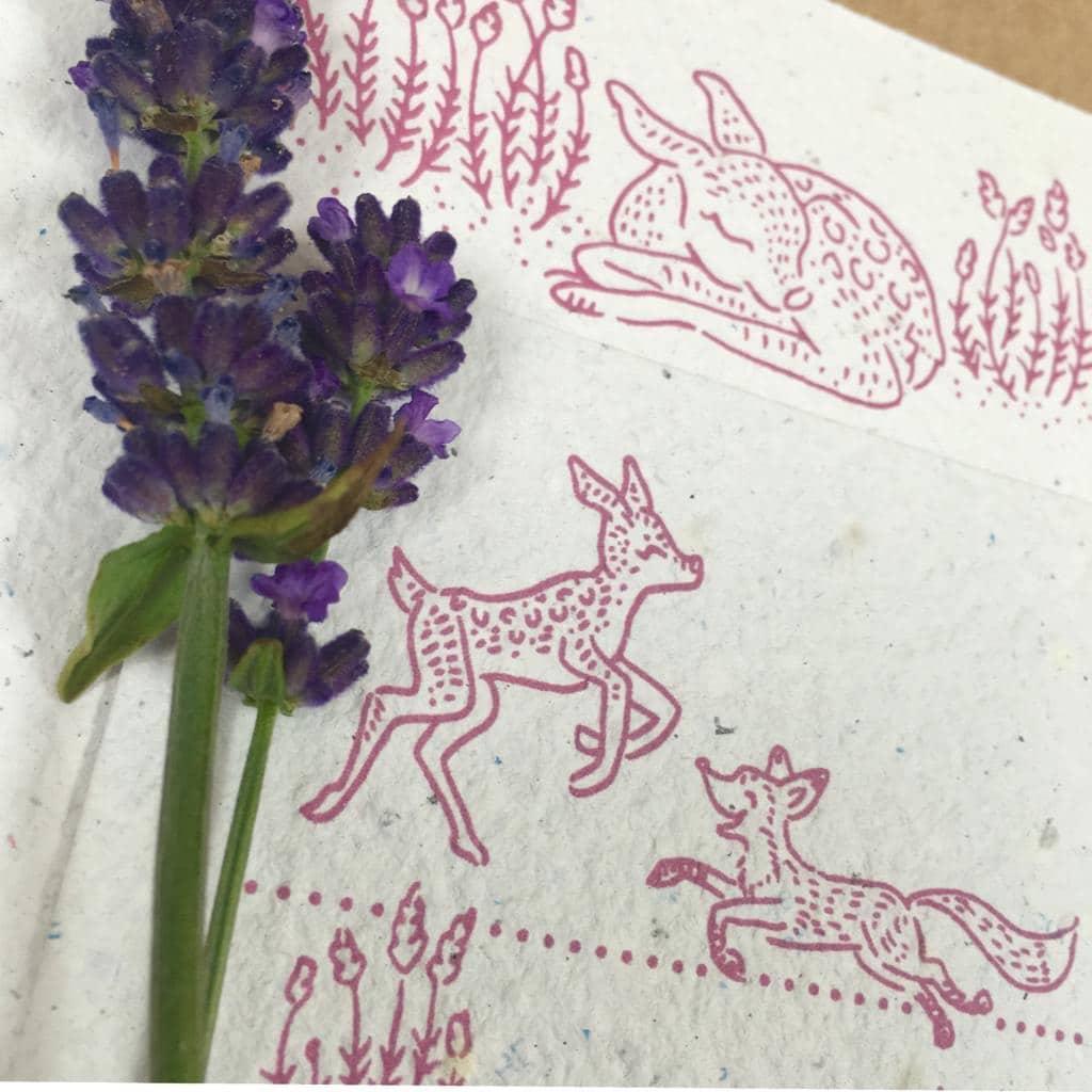 Geboortekaartje groeipapier hertje vosje