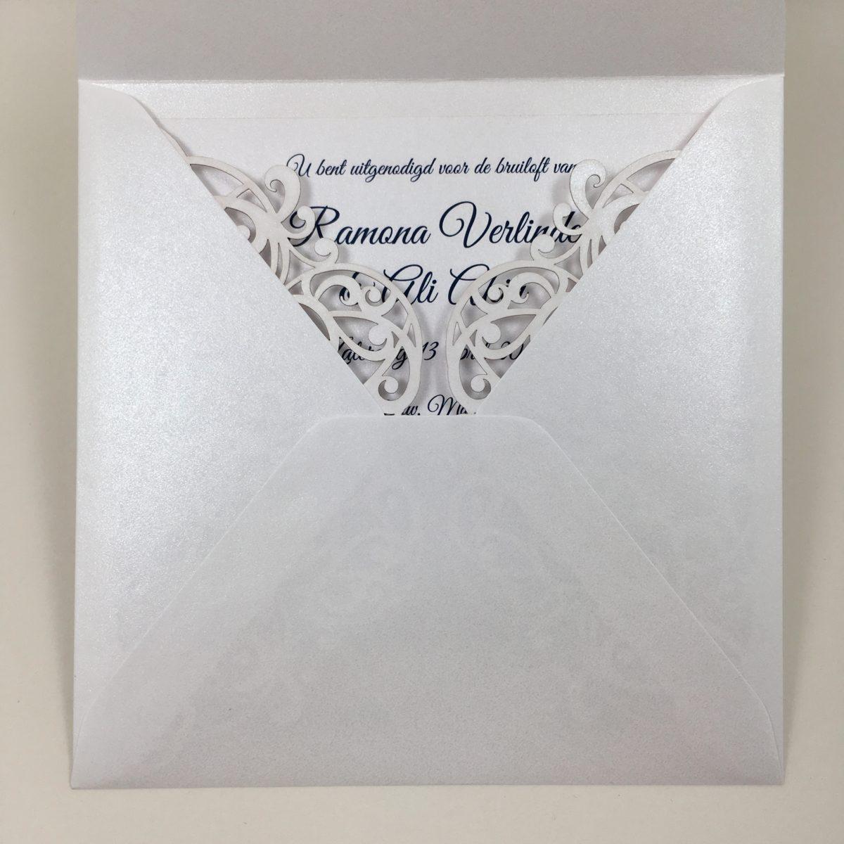 gelaserde trouwkaart glans trouwkaart chic
