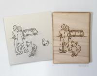 portretillustratie op hout