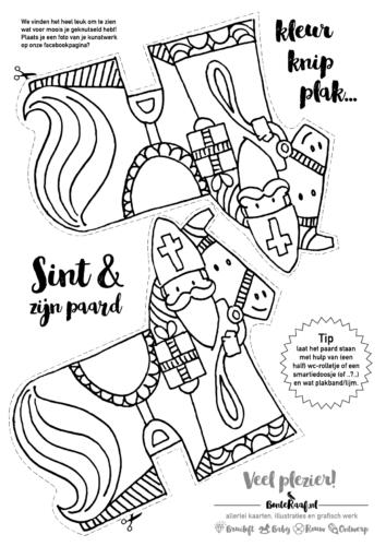 Sinterklaas download paard knutsel kleurplaat