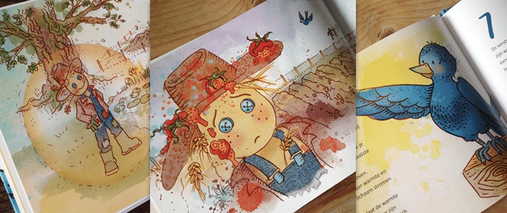 illustratie kinderboek tobias en vogel