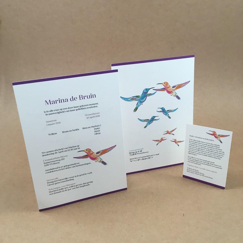Rouwkaart en bedankkaartje kolibrie
