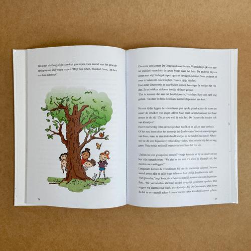 kinderboekillustratie Suus en het Grauwe Stadje Boom