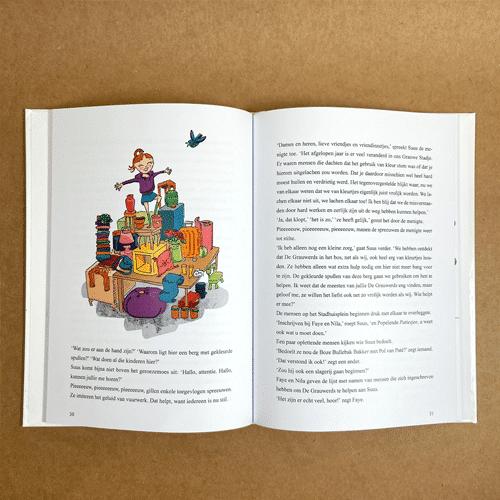 kinderboekillustratie Suus en het Grauwe Stadje Stapel
