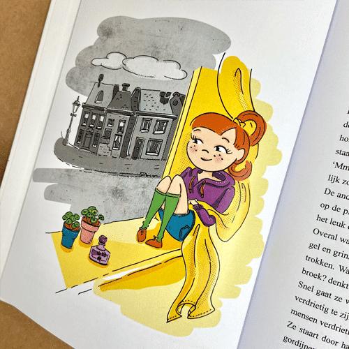 kinderboekillustratie Suus en het Grauwe Stadje Straat