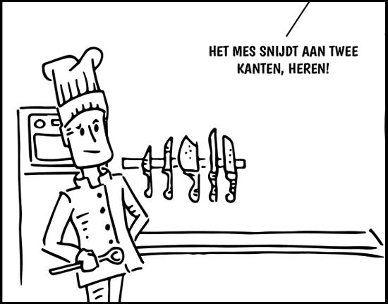 illustratie strip keukenmessen