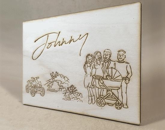blog portret illustratie gezin in hout