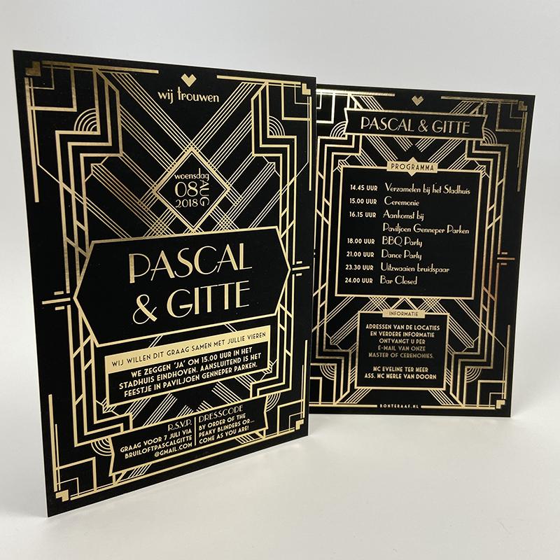 Trouwkaart Great Gatsby Goud